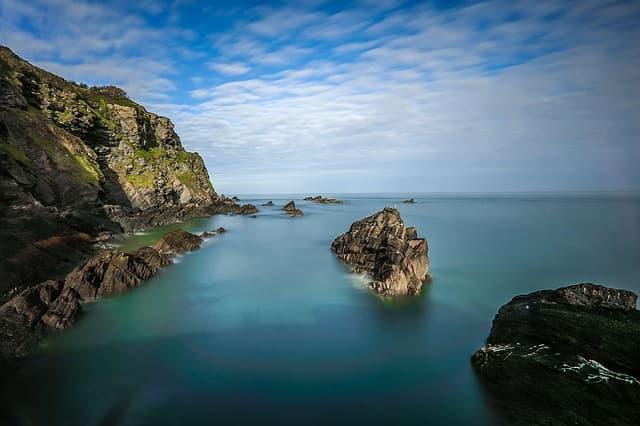 coast reefs rocks ocean england